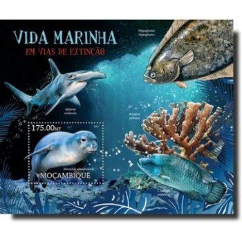 Meeresleben: Gefährdete Arten – Briefmarken-Block postfrisch, Mocambique