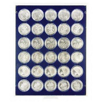 Lindner Münzbox für 10 und 20 Euro Silbermünzen, verkapselt, grau, Einlage marineblau, LI 2537M