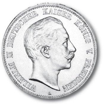 5 Mark Silbermünze, König Wilhelm II., Katalog-Nr. 104, Königreich Preußen