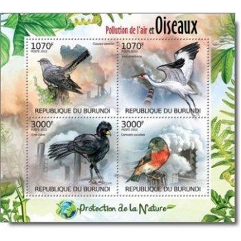 Vögel und Luftverschmutzung – Briefmarken-Block postfrisch, Burundi