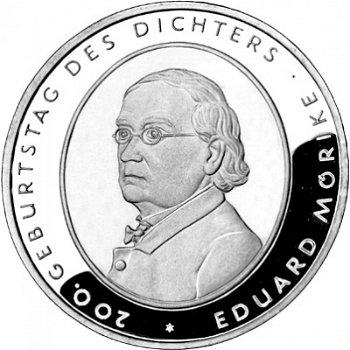 200. Geburtstag Eduard Mörike, 10-Euro-Silbermünze 2004, Polierte Platte