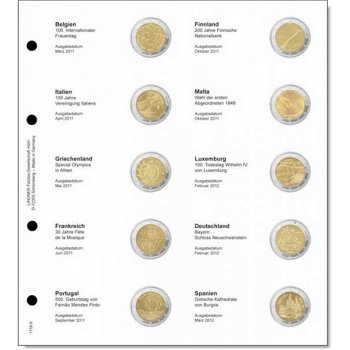 Lindner Vordruckblatt inkl. Münzblatt für 2 Euro-Gedenkmünzen chronologisch: Belgien 2011 - Spanien