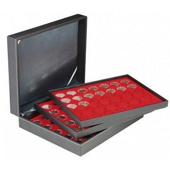 Nera Münzkassette XL mit 3 Tableaus für 2 Euro Münzen gekapselt, Münzeinlage rot, Lindner 2365-2530E