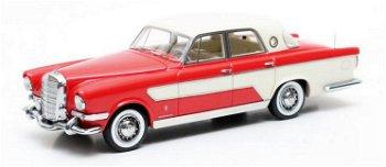 Modellauto:Mercedes-Benz Ghia 300 C Berlina von 1956, rot-weiß(Matrix, 1:43)