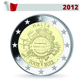 2 Euro Münze 2012, 10 Jahre Euro, Malta