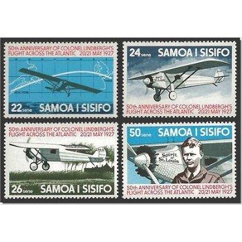 50. Jahrestag des 1. Transatlantikfluges von Charles Lindbergh – vier Briefmarken postfrisch, Katalo