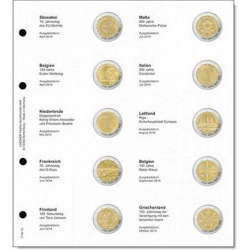 Lindner Vordruckblatt inkl. Münzblatt für 2 Euro-Gedenkmünzen chronologisch: Slowakei April 2014 bis