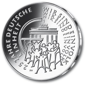 25 Euro Münze ,25 Jahre Deutsche Einheit, Polierte Platte, Deutschland 2015, alle fünf Prägezeichen