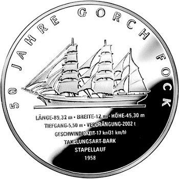 Segelschulschiff Gorch Fock II, 10 Euro-Silbermünze 2008, Polierte Platte