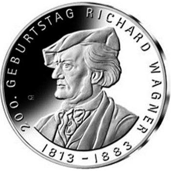 200. Geburtstag von Richard Wagner, 10-Euro-Silbermünze 2013, Polierte Platte