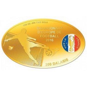 Fußball EM in Frankreich, Goldmünze mit Farbauflage, Gambia