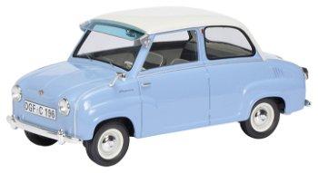 Modellauto:Goggomobil Limousine, blau-weiss(Schuco/PRO.R18, 1:18)