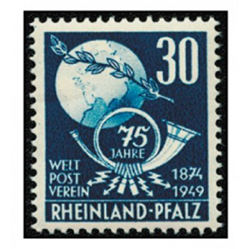 75 years of the Universal Postal Union - 2 stamps mint never hinged, catalog no. 51-52, French Zone Rhineland P