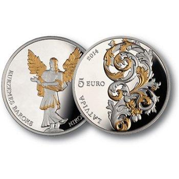 Barocke Baukunst, Silbermünze mit Goldauflage, Lettland