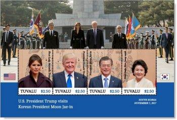 Donald Trump in Süd Korea - Briefmarken-Block postfrisch, Tuvalu
