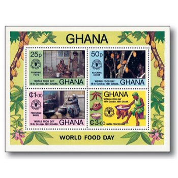 Welternährungstag - Briefmarkenblock postfrisch, Ghana