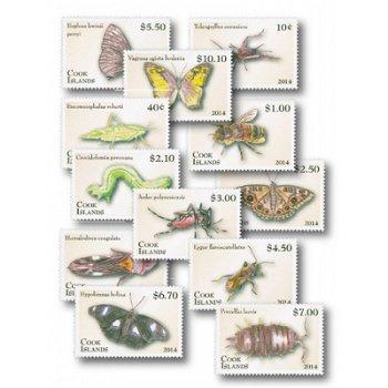 Insekten - 12 Briefmarken postfrisch, Cook-Inseln
