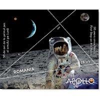 Weltraum: 50 Jahre Mondlandung / Apollo 11 - Briefmarkenblock postfrisch, Rumänien