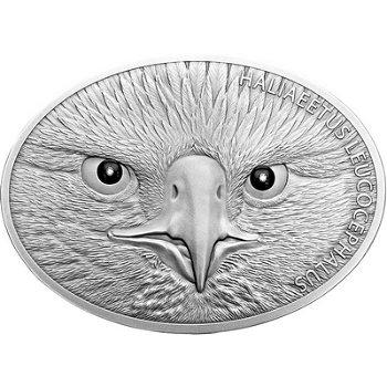 Weißkopfseeadler, 5 Unzen Silbermünze mit Diamanten, Benin