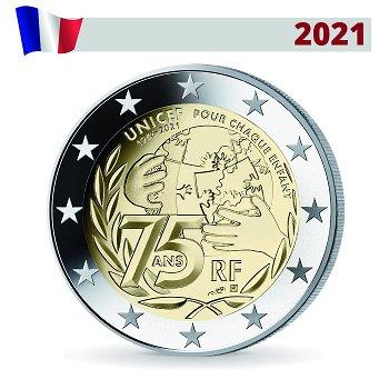 75 Jahre UNICEF - 2 Euro Münze 2021, Frankreich