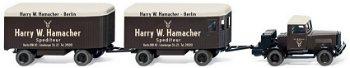 Modell-Traktor: Hanomag ST 100 - Hamacher -mit zwei Möbelanhänger von 1946, braun(Wiking, 1:87)