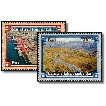 Verkehrsinfrastruktur - 2 Briefmarken postfrisch, Katalog-Nr. 2499-2500, Peru