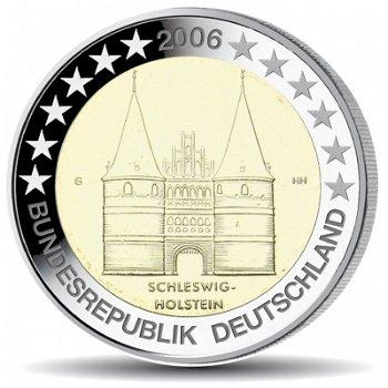 2 Euro Münze 2006, Holstentor Lübeck für Schleswig-Holstein, Deutschland, 1 Prägezeichen