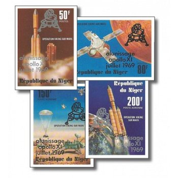 Weltraum: 10 Jahre Mondlandung Apollo 11/Aufdruck - 4 Briefmarken ungezähnt postfrisch, Katalog-Nr.