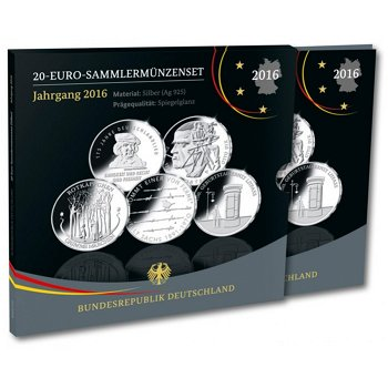 Gedenkmünzenset, 20 Euro Silbermünzen 2016 Polierte Platte, Deutschland