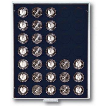 Lindner Münzbox für 10 und 20 Euro Silbermünzen, unverkapselt, grau, Einlage schwarz, LI 2111C