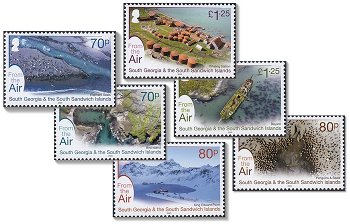 Luftaufnahmen - 6 Briefmarken postfrisch, Süd-Georgien