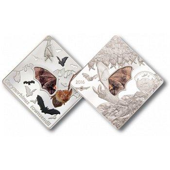 Amerikanische Langohrfledermaus, 10 Dollar Silbermünze mit Glas-Intarsie, Palau