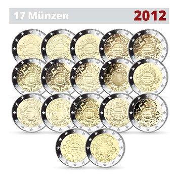 """2-Euro-Münzen """"10 Jahre Euro"""", 2012, 17 Stück"""