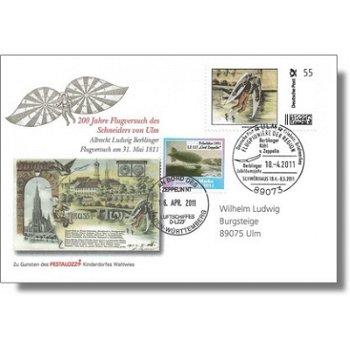 Zeppelin NT, 200 Jahre Schneider von Ulm - Beleg Friedrichshafen-Ulm, Deutschland
