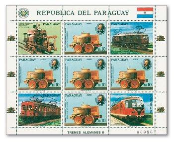 150 Jahre Deutsche Eisenbahnen/Elektrische Lokomotiven - Kleinbogen, Katalog-Nr. 4026, Paraguay