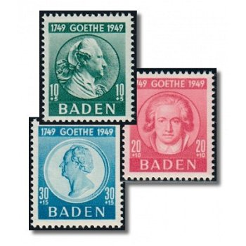 200th birthday of Goethe - 3 stamps mint never hinged, catalog no. 47-49, French Zone Baden