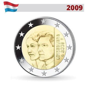 2 Euro Münze 2009, 90. Jahrestag Thronbesteigung Großherzogin Charlotte, Luxemburg