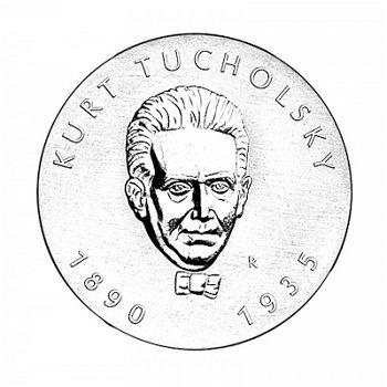 """5-Mark-Münze 1990 """"100. Geburstag Kurt Tucholsky"""", DDR"""