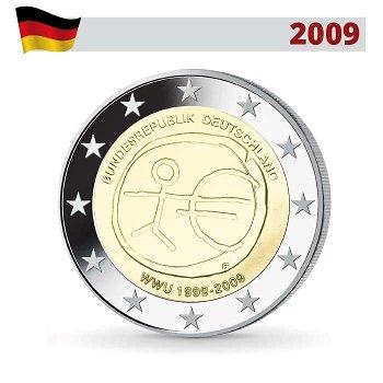 2 Euro Münze 2009, Wirtschafts- und Währungsunion, Deutschland, 1 Prägezeichen