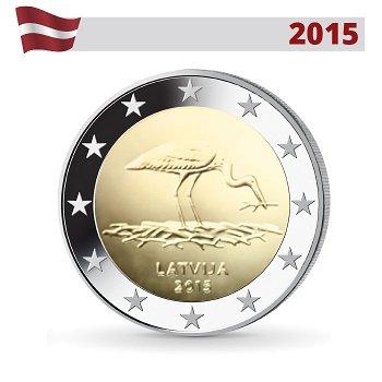 10 Jahre Schwarzstorch-Schutzprogramm, 2 Euro Münze 2015, Lettland