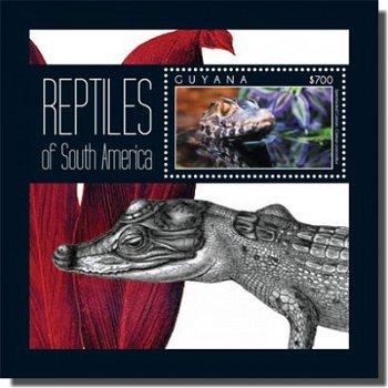Reptilien: Krokodilkaiman - Briefmarken-Block, Guyana