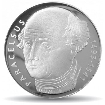 500. Geburtstag von Paracelsus, 20 Franken Münze 1993 Schweiz, Stempelglanz