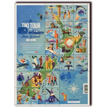 TIKI-Tour durch Neuseeland Teil 2 - Briefmarken-Kleinbogen postfrisch, Neuseeland