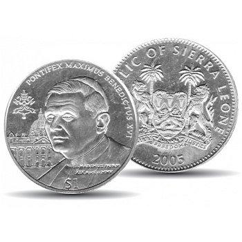 Papst Benedikt XVI., 1 Dollar Münze 2005, Stempelglanz, Sierra Leone