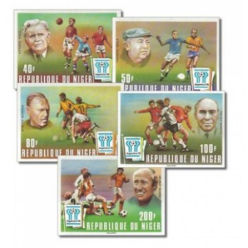 Fußballweltmeisterschaft 1978 - 5 Briefmarken ungezähnt postfrisch, Katalog-Nr. 593-597, Niger