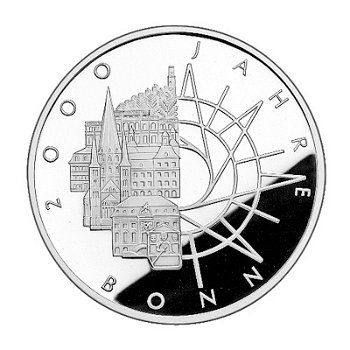 """10-DM-Silbermünze """"2000 Jahre Bonn"""", Stempelglanz"""