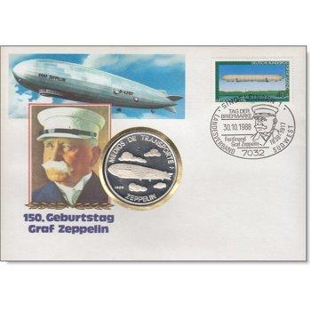 150. Geburtstag Graf Zeppelin, Numisbrief Deutschland