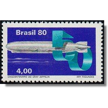 """50. Jahrestag der Ankunft des Luftschiffes """"Graf Zeppelin"""" in Brasilien - Briefmarke postfrisch, Kat"""