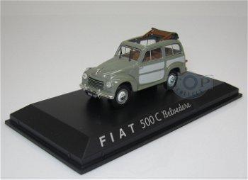 Modellauto:Fiat 500 Belvedere von 1952, hell-dunkelgrau(Norev, 1:43)
