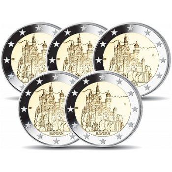 2 Euro Münze 2012, Schloss Neuschwanstein / Bayern, Deutschland, 5 Prägezeichen